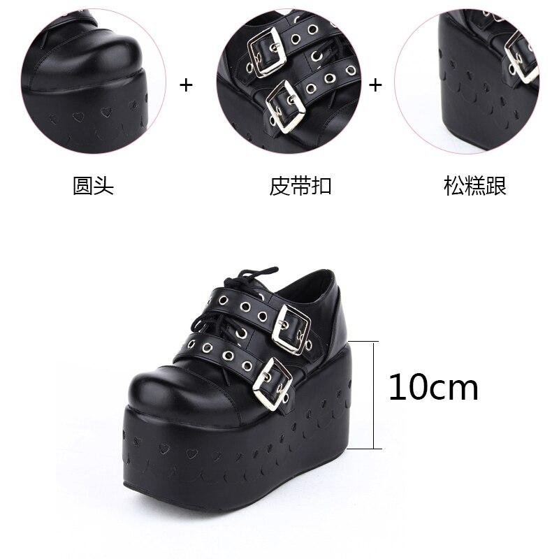 Peu Pu6030 Chaussures Dentelle Cosplay Doux Profonde Complet Femelle Pente Lolita Douce Princesse Noir Talon Punk Up FKTJl1c