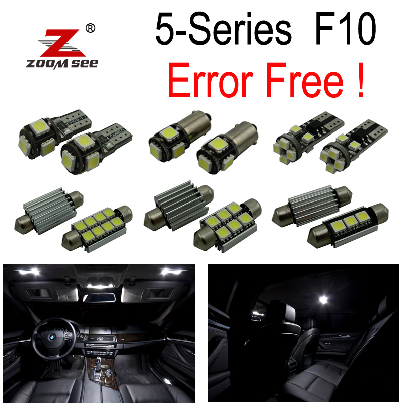 22pcs error free for BMW F10 528i 528i 535i 535i xdrive 550i 550i M5 LED lamp Interior map dome Light Kit Package (2011+) buildreamen2 car 2835 interior led bulb no error led kit package white map dome cargo light for bmw e60 e61 5 series 1999 2006