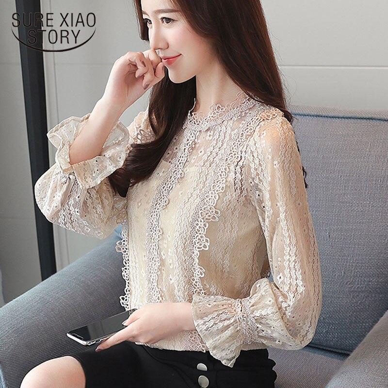 fashion woman   blouses   spring 2019 hollow out lace   blouse     shirt   patchwork long sleeve women   blouse   elegant women tops 1672 50