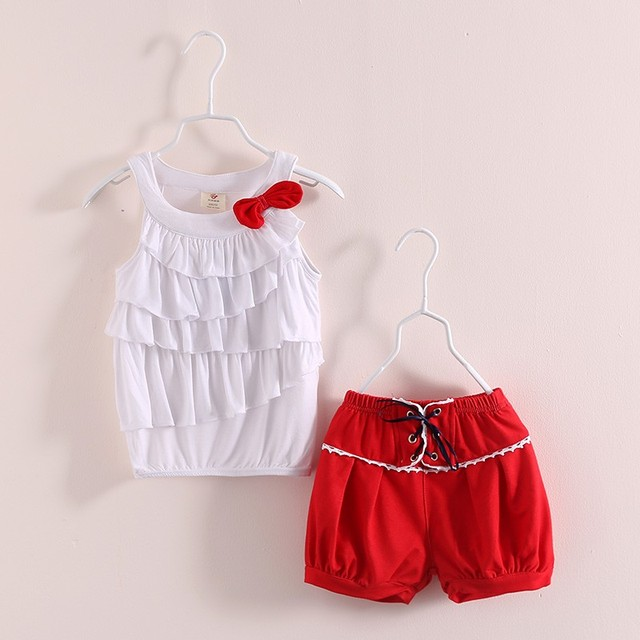 LittleSpring 2017 new summer girls clothing sets 2pcs baby girl clothes set sleeveless white vest and red shorts child clothes