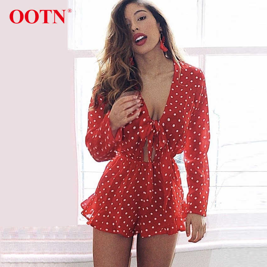 fc80f025acd OOTN Long Sleeve Polka Dot Jumpsuit Red Women Hollow Out Sexy Overalls  Female Short Jumpsuit Romper