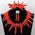 Африканские Коралловое Ожерелье Комплект Ювелирных Изделий Коренастый Африканская Коралловые Бусы Колье 2017 Люкс Ювелирные Изделия Установить Бесплатная Доставка CNR435