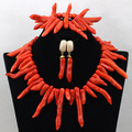 African Coral Jewelry Necklace Set Chunky African Coral Beads Necklace Set 2017 Bridal Jewellery Set Free Shipping CNR435