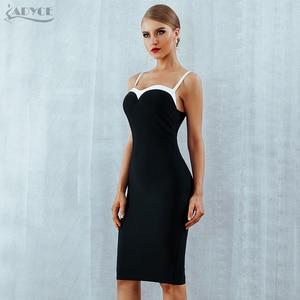 Image 4 - Adyce 2020 Summer Bodycon Bandage Dress Women VestidosSexy Strapless Black&White Midi Runway Celebrity Evening Party  Club Dress