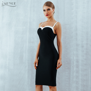 Image 4 - Adyce 2020 verão bodycon bandagem vestido feminino sexy sem alças preto & branco midi pista celebridade festa à noite clube vestido