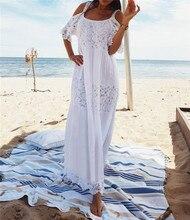 2019 женское лоскутное кружевное пляжное платье, длинное бикини, купальник, накидка, Vestido Sarong Robe de Plage туника
