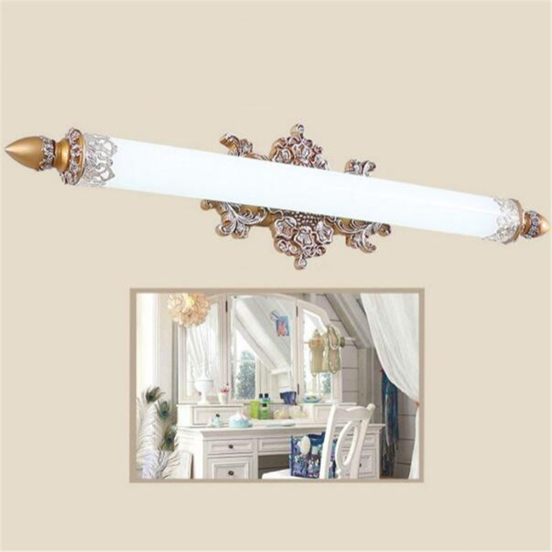European Classical Pastoral Resin Acrylic Led Mirror Light for Bathroom Cabinet Makeup Mirror Wall Lamp 58/70/75cm 2226 vintage classical simple brozen aluminum acryl led mirror light for bathroom cabinet waterproof bright wall lamp 45 75cm 1135