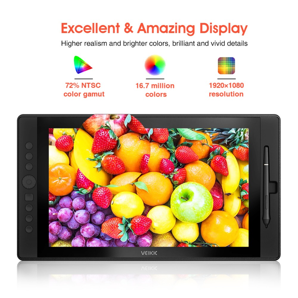 VEIKK VK1560 Digital Drawing Pen Tablet Monitor With 8192 Levels Passive Pen Compatible With Drawing App Such As PS