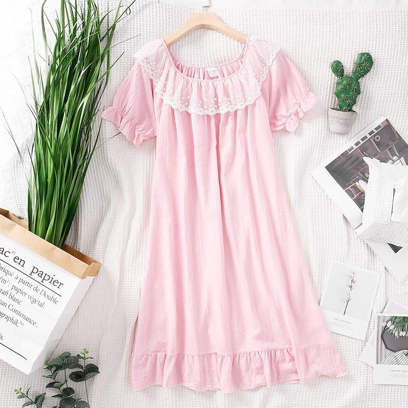 2019 Summer Women Cotton   Nightgowns   Thin   Sleepshirts   Nightshirts Sleepwear Cute Lace Short Sleeve Nightdress Princess Nightwear