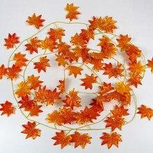 Осенний кленовый лист, гирлянда, лоза, свадебное украшение для дома и офиса, 2,4 м, искусственный декор из растений S