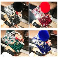 Luxury Rabbit Fur Case For IPhone6 6S 7 8 7Plus X Case Furry Shell Smooth Rhinestone