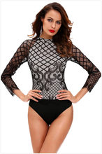 Body Feminino Sexy Bodysuit Women's Free Shipping 2019 Style Lace Stitching Long Sleeve Round Neck Back Wearing Sexy Jumpsuit(China)