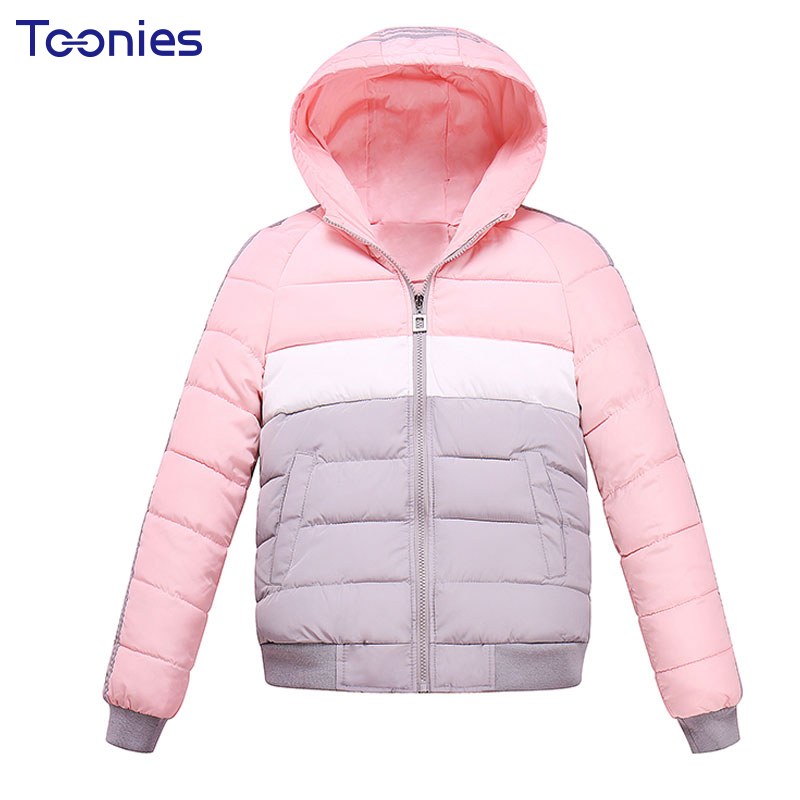 Women Coat Short Wadded Parkas Thick Overcoat Hooded Striped Pink Gray Patchwork Long-sleeve Womens Winter Jackets 2017 Outwear