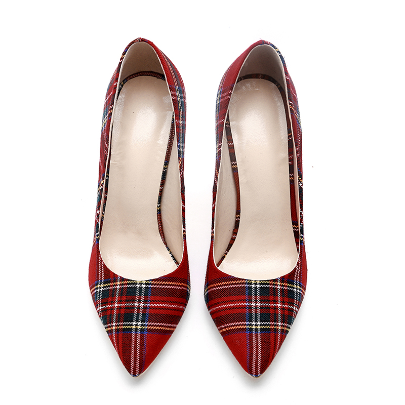 WETKISS Big Size 33-45 Stiletto Heels Women Pumps Plaid Pointed Toe Shallow Thin Heels Footwear 2019 Spring Party Ladies Shoes