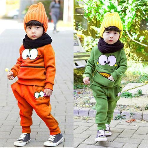 Baby Boys Girls Kid SportsWear Tracksuit Outfit Smiling Face Unisex Suit Autumn Free shipping