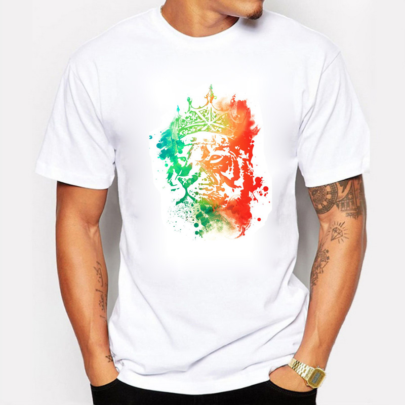 2016 New Game Throne Lion king of The Forest T-shirt Mannen Cotton Colorful Printed O-Neck White Men T Shirt