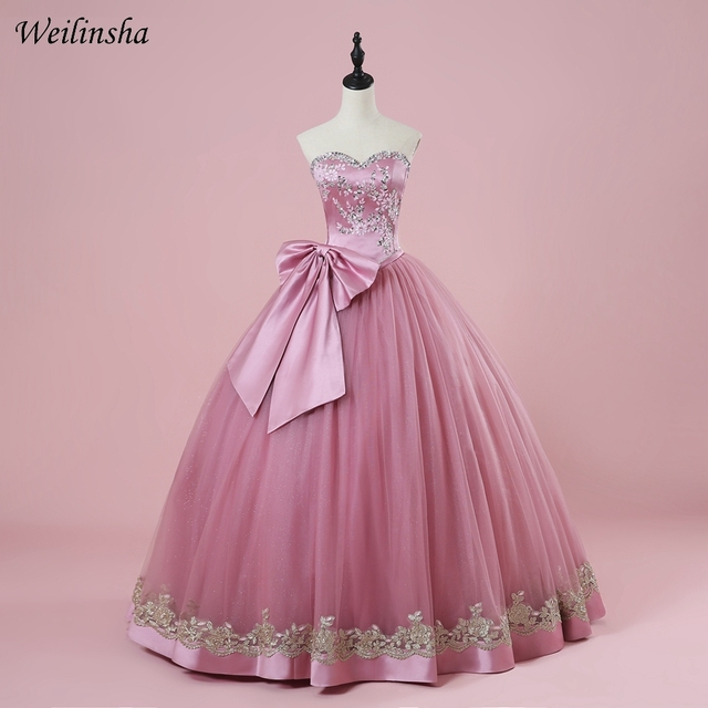 3fb9e220c0b Weilinsha New Sweetheart Tulle Quinceanera Dresses Long Sweet 16 Dress with  Debutante Bow Ball Gown Cute Charming Wear
