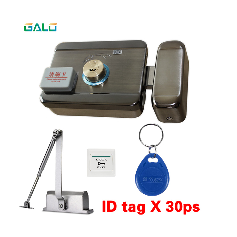 30 tags Door & gate lock Access Control system Electronic integrated RFID ID Reader Door Rim lock with 25 50kg door Closer