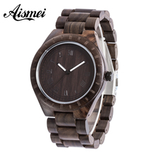 2016 New Natural Black Sandalwood Analog Men Watch WOOD Japan Quartz Movement Wooden Watches classic Dress Wristwatch For Unisex