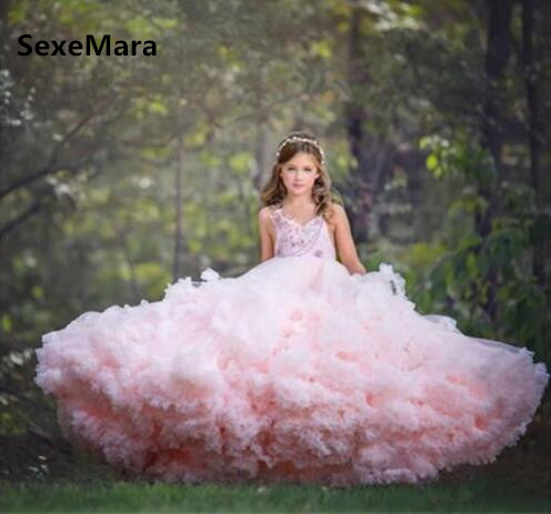 Cloud Pink Long Flower Girls Dresses for Wedding Kids Pageant Gown Girls Birthday Dress Evening Gowns Puffy Tulle Custom Made
