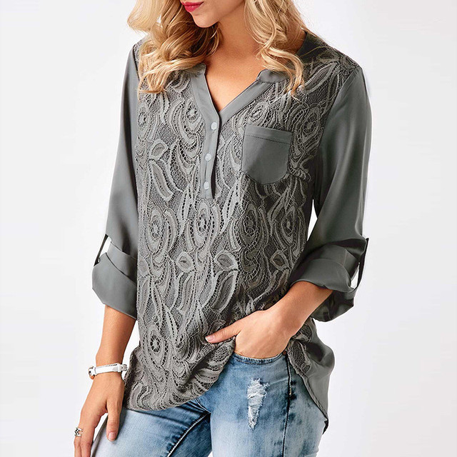 Вышивка Кружева шифон блузка рубашка женские топы 2017 Осень Зима Модные пикантные повседневные с длинным рукавом Дамы Топ Плюс Размер S-3XL
