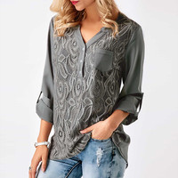 Embroidery Lace Chiffon Blouse Shirt Women Tops 2017 Autumn Winter Fashion Sexy Casual Long Sleeve Ladies