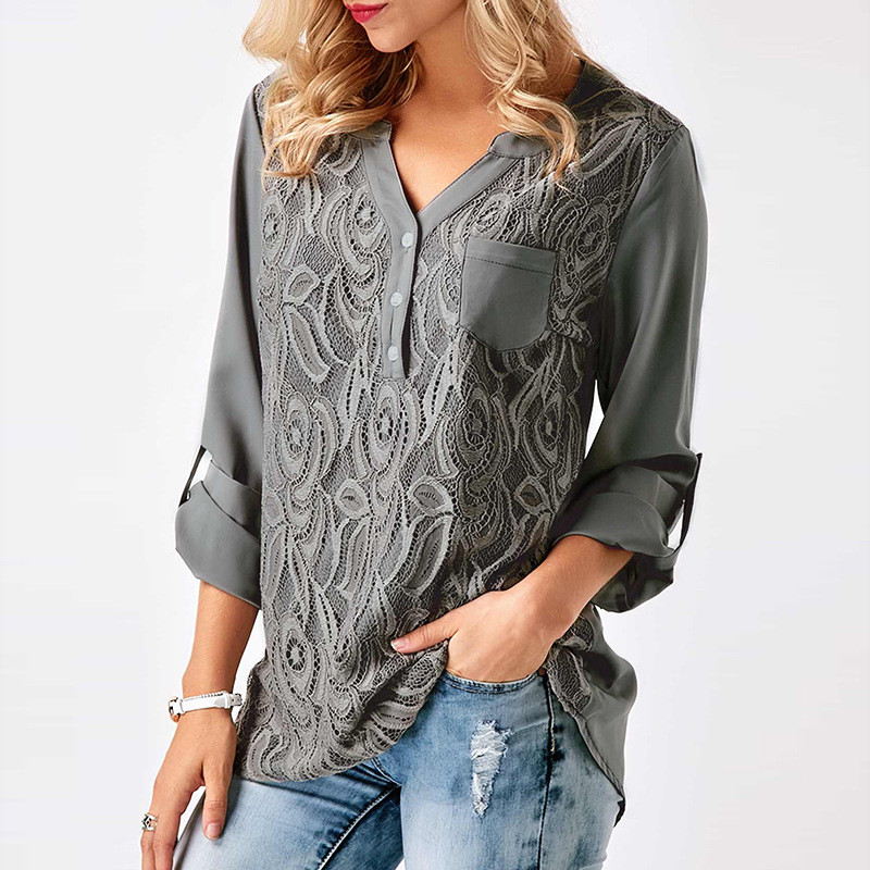 Stickerei Spitze Chiffon Bluse Shirt Frauen Tops 2017 Herbst Winter Mode Sexy Casual Langarm Damen Top Plus Größe S-3XL