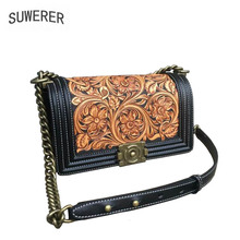 Genuine Leather women bags handmade carving Luxury cowhide designer leather handbags bag