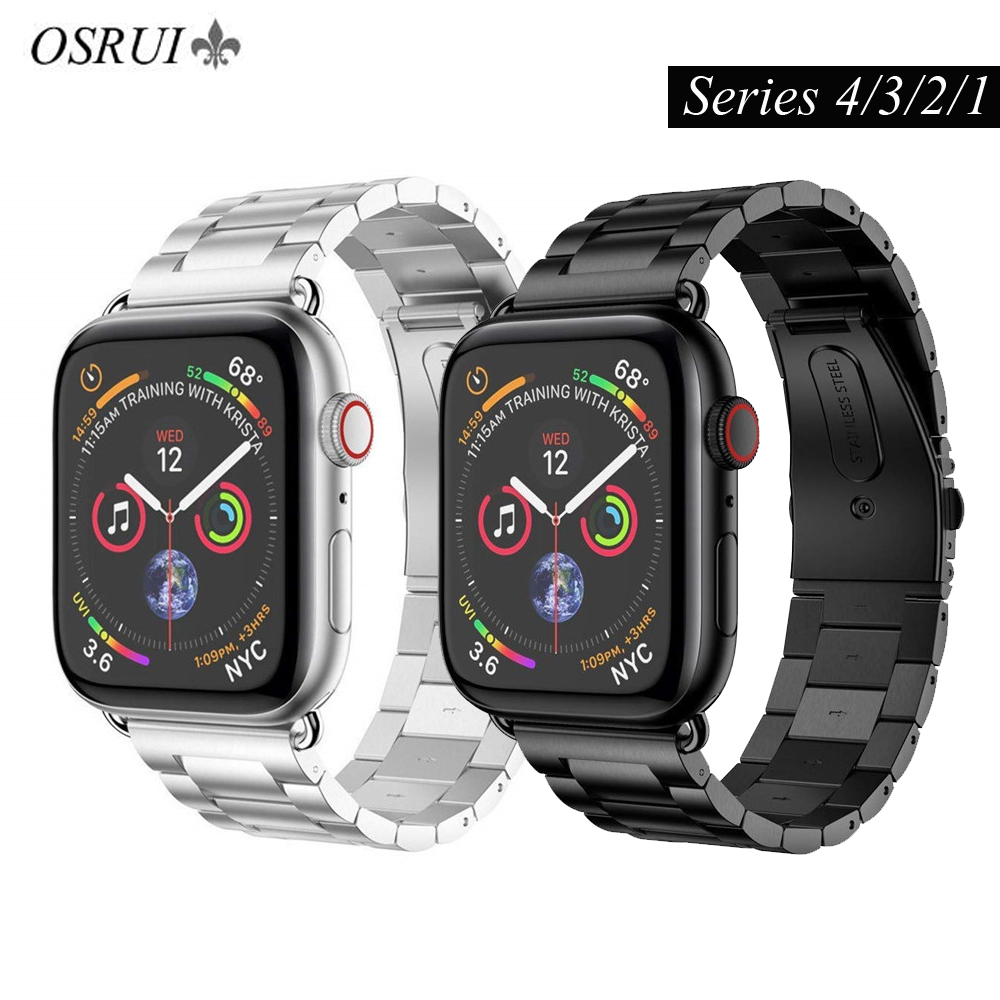 OSRUI Stainless Steel watch Band for apple watch 4 44mm 40mm strap correa 42mm 38mm iwatch 3 2 1 metal wristband bracelet beltOSRUI Stainless Steel watch Band for apple watch 4 44mm 40mm strap correa 42mm 38mm iwatch 3 2 1 metal wristband bracelet belt