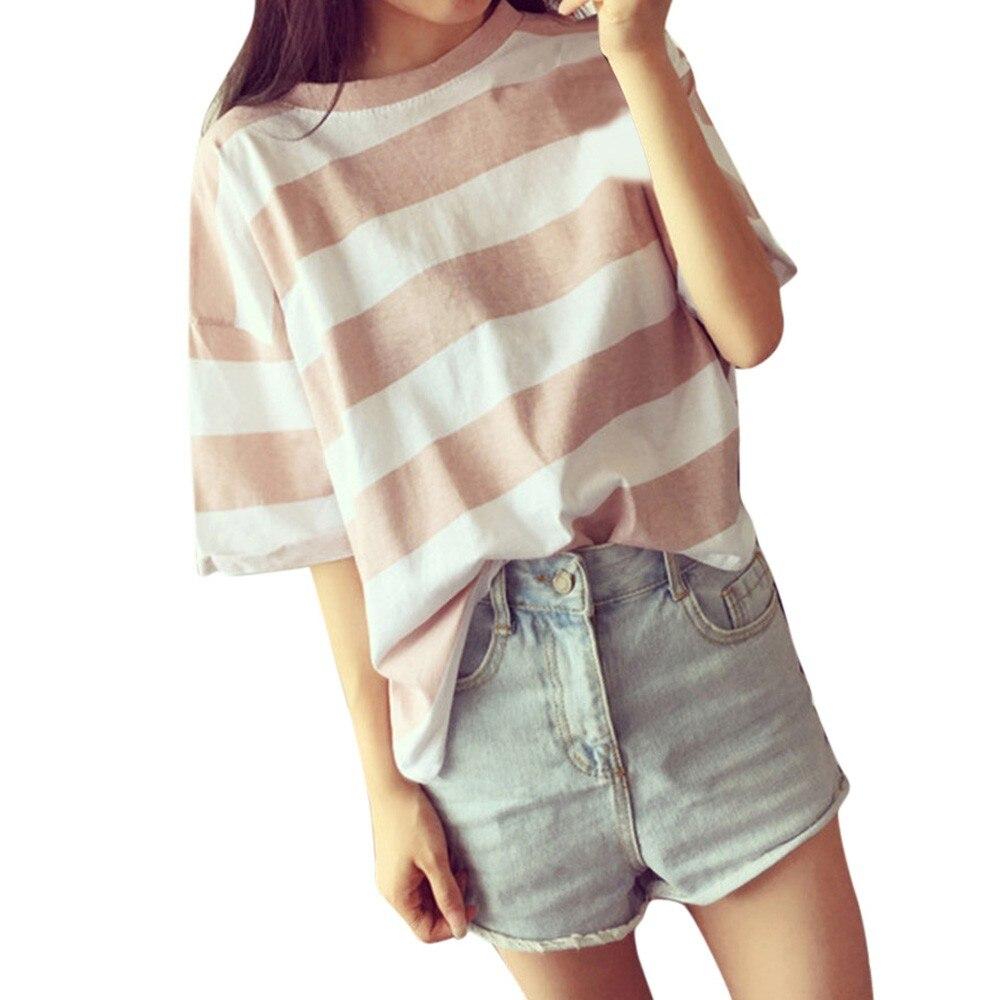 Korean Clothes 2019 New T-Shirt Women Streetwear Striped Shirt O Neck Shirts Summer Women Fashion T-Shirt Das Mulheres Femme