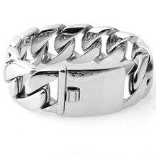 цена на Men's Bracelet Cuban-Style Chain Insert Buckle Design Solid Stainless Steel Heavy Jewelry Link Bold Accessories Hip-Hop Boy 26mm