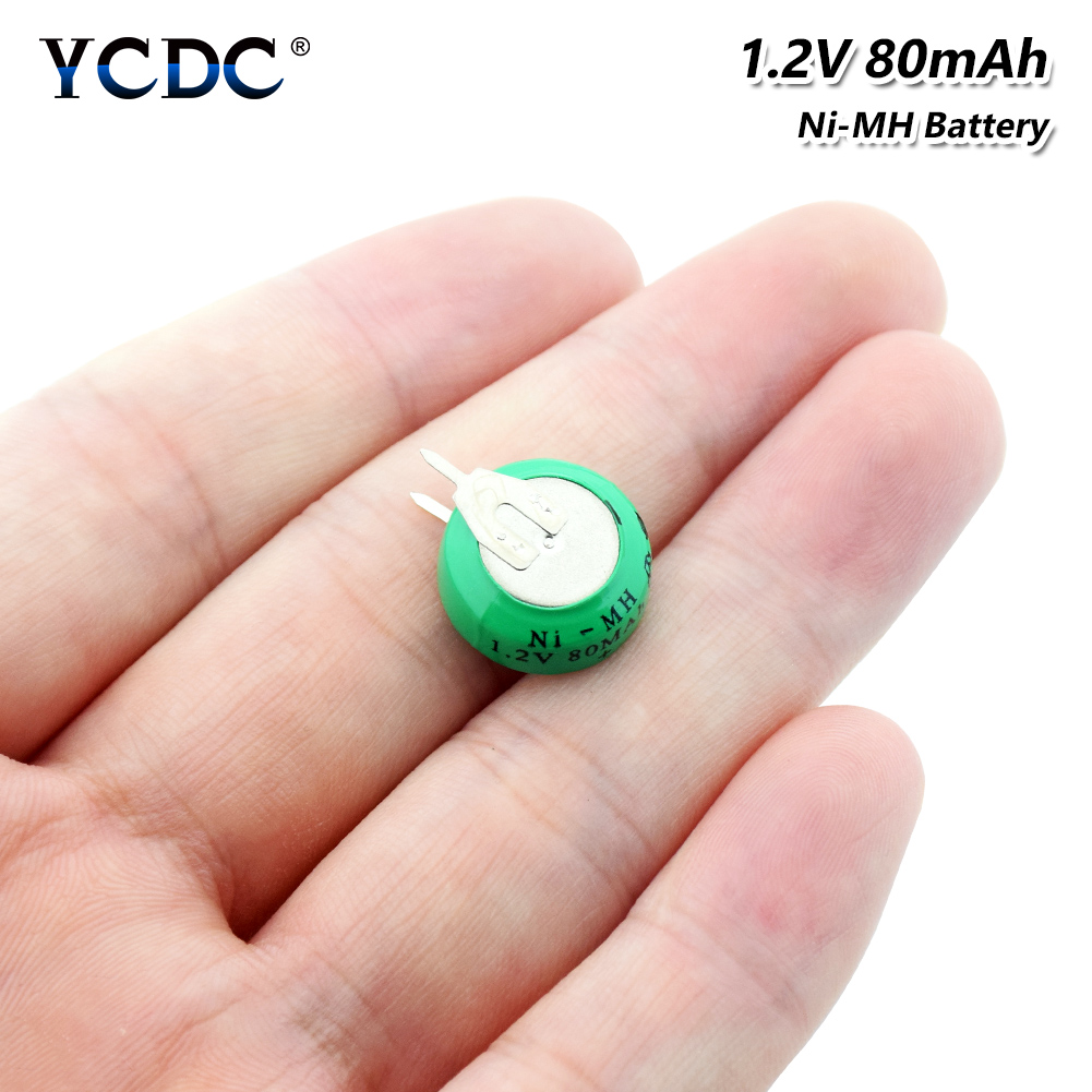 Rechargeable 1.2 Volt 80mAh Ni-MH Li-Po Lithium Li-polymer Batteries Button Coin Cell Battery With Solder Pins For Watch Toy
