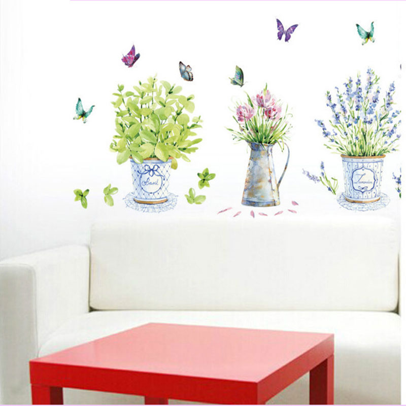 Diy Wall Stickers Home Decor Potted Flower Pot Butterfly
