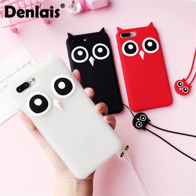 Korea Cartoon 3D Owl Phone Case For iphone 7 6S Case Rubber Soft Silicone Phone Back Cover For iPhone X 8/7 Plus 6S Plus 5S Capa