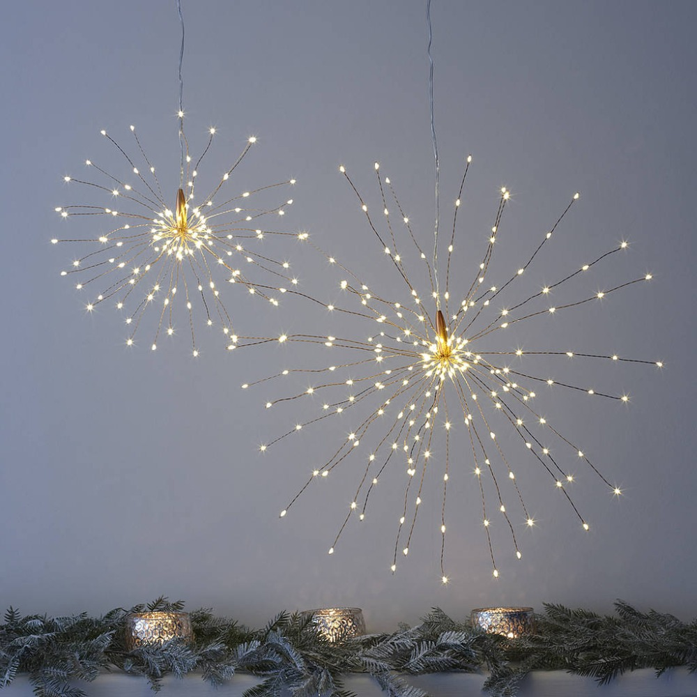 200 LED Copper Starburst Hanging Lights Flash Lights Remote Controller Battery For Christmas Wedding Outdoor Party Decoration