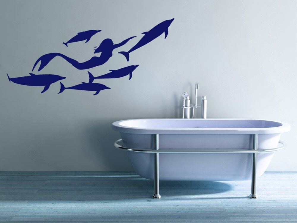 Marine Animal Mermaid Dolphin Vinyl Wall Decal Girl Child Room Home Kindergarten Bathroom Art Deco Wallpaper YS21-in Wall Stickers from Home & Garden