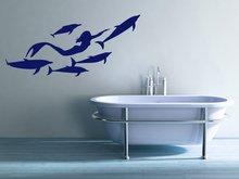 海洋動物人魚イルカビニール壁デカール女児の部屋のホーム幼稚園浴室アートデコ壁紙 YS21
