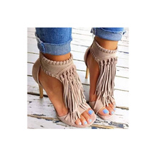 Sandals Womens Large High-heeled Summer 2019 New Roman Shoes, tassels, fish mouths, wine cups and high-heeled explosive sandals