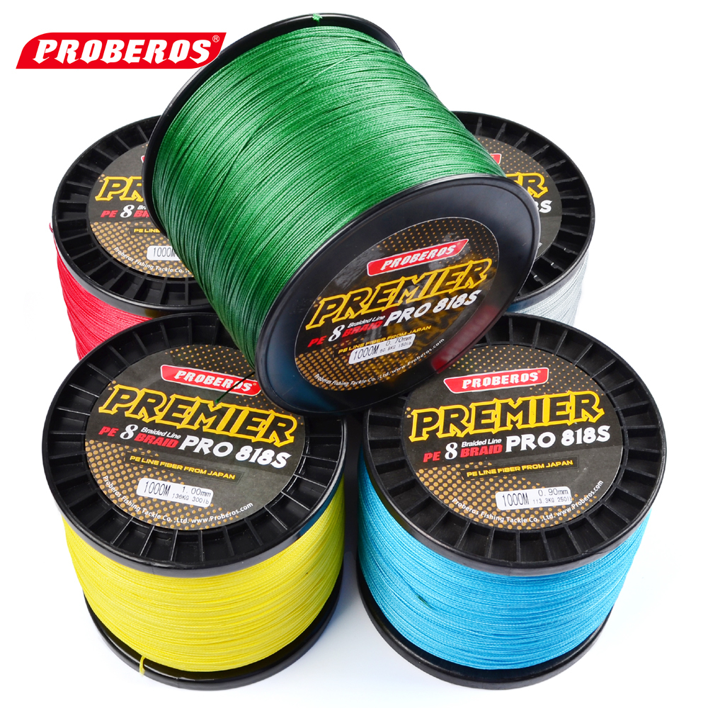 1000M PROBEROS PE Fishing Line 8 stands 8 Weaves High Quality Japan Braided Wire Available 10LB-100LB PE Line Yellow Package aqua pe ultra elite m 8 yellow 150m 0 25mm 18 10kg