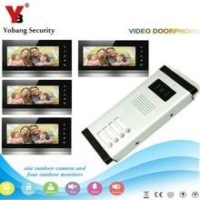 YobangSecurity 4 Apartment Wired Video Door Phone Intercom System 7″Inch Monitor IR Camera Video Intercom DoorPhone Doorbell Kit