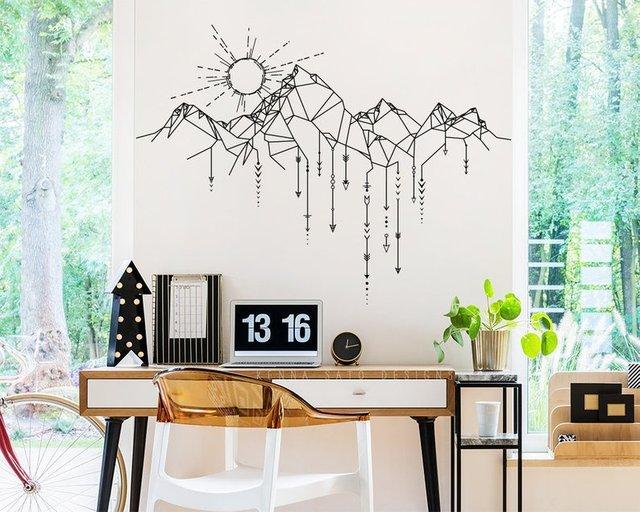 Geometric Mountain and Sun Wall Decal Geometric Applique Arrow Applique Bedroom Living Room Home Art Deco Wallpaper 2WS41