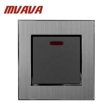MVAVA 20A Нагреватель Переключатель роскошный 110-250 В серебристый Сатин металлический стандарт ЕС Великобритании 20A светодиодный индикатор водонагреватель настенный выключатель