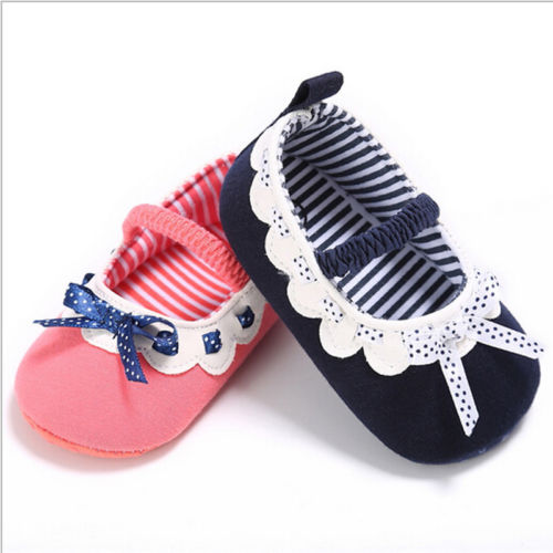 Cute Toddler Baby Girl Bowknot Crib Shoes Newborn Prewalker Non-slip Kids Soft Sole