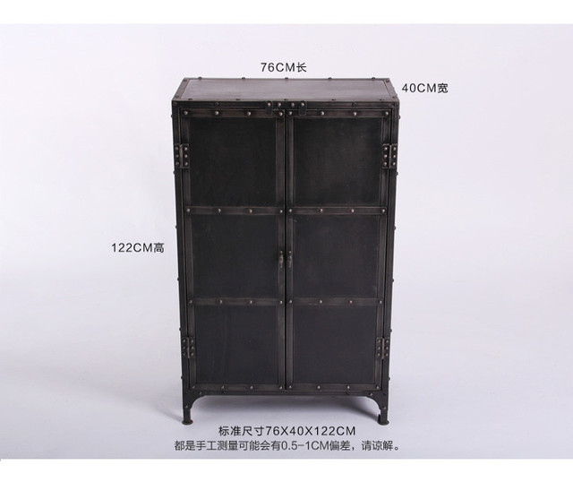 LOFT Iron Cupboard Storage Lockers Tiegui Retro Style Wrought Iron Rivets  Cabinet Door Corner Cabinet With
