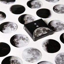 hot deal buy 45 pcs/box moon photos mini paper seal sticker scrapbook notebook album decoration label stickers office school supplies