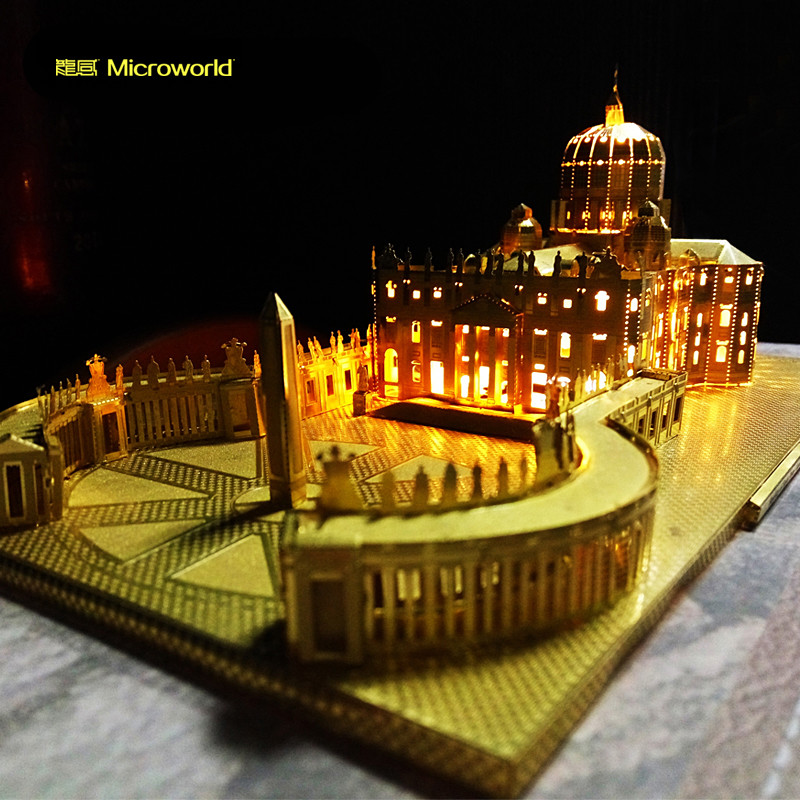 MICROWORLD St. Peter's Basilica Cathedral 3D Metal Puzzle DIY Assembled Building Model Men Gift Hobby Collection Gold Silver