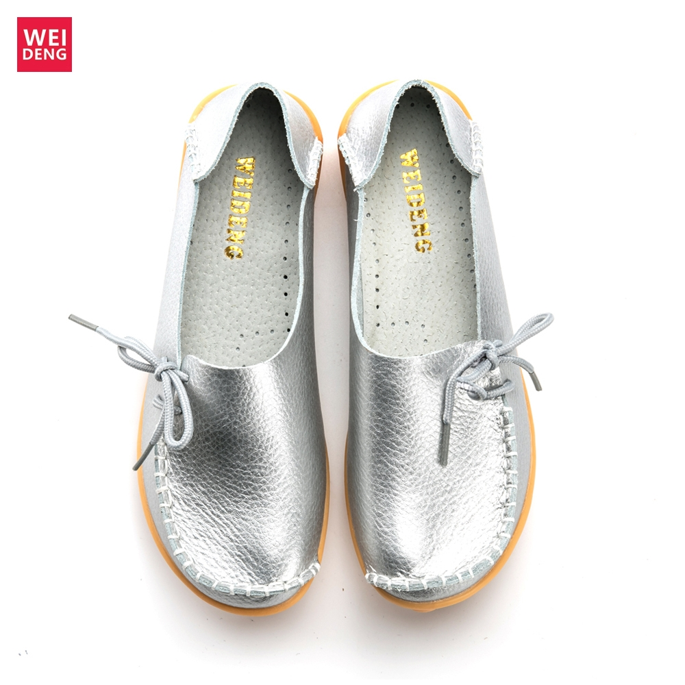 WeiDeng Women Genuine Leather Flat Moccasin Loafer Casual Ladies Slip On Cow Driving Fashion Ballet Boat Summer 2019 Shoes