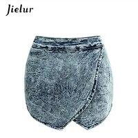 Kadınlar için avrupa Moda Büyük Boy Kısa Kot Çapraz Basamaklı Düzensiz Geniş Bacak Denim Şort Kadın Yaz Yıkanmış Kot S-2XL