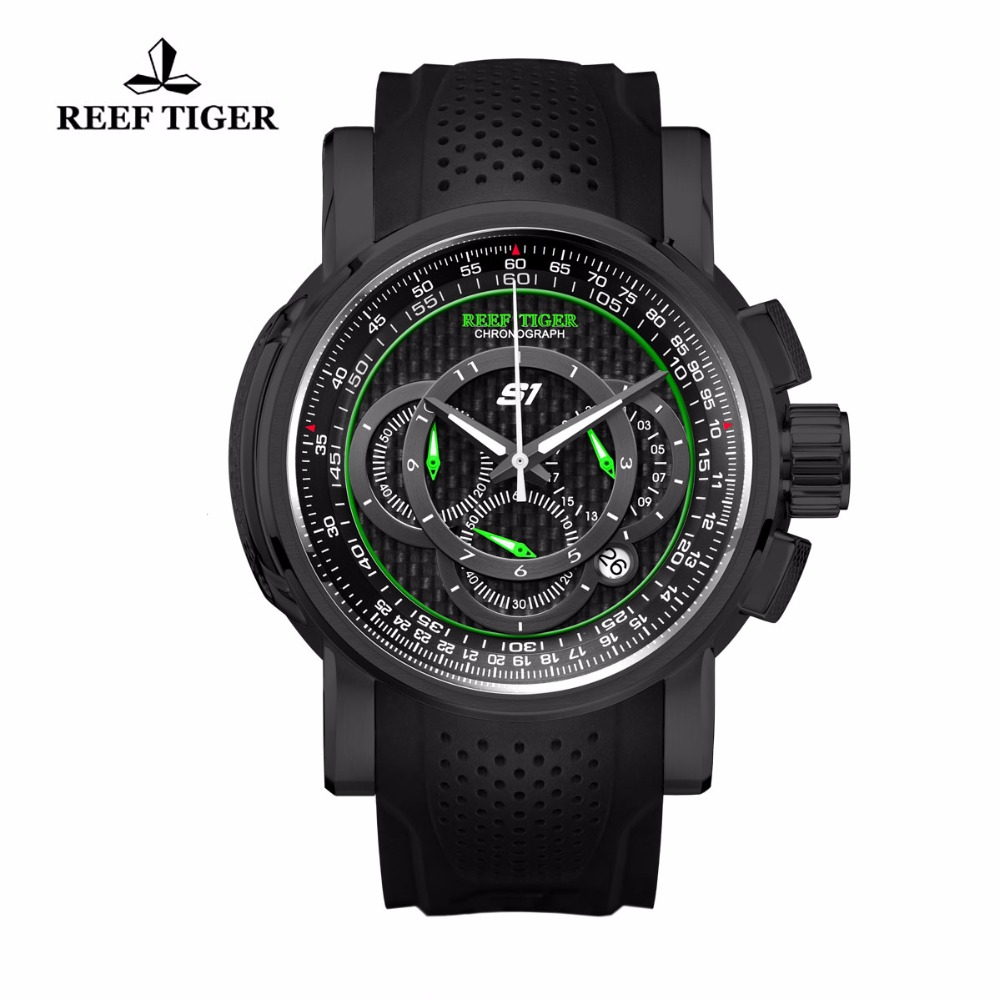 Reef Tiger/RT Outdoor Sport Watch with Chronograph Date Black Steel Rubber Strap Quartz Watches For Men RGA3063 reef tiger rt designer sport watches for men rose gold quartz watch with chronograph and date reloj hombre 2018 rga3063