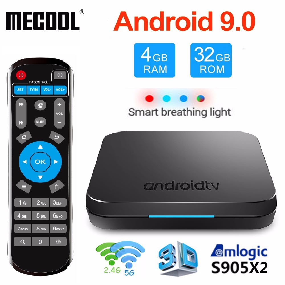 Mecool KM9 Android 8.1 TV Box BT 4.1 Voice Control S905X2 4GB 32GB Smart TV Box2.4G/5G WiFi Set Top Box 4K Media Player